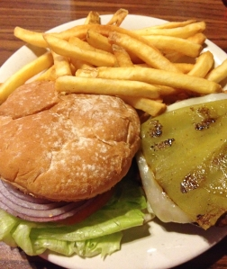 Mt Whitney Restaurant green chile buffalo cheeseburger