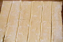 Puff pastry cut into 12 strips for baking