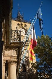Sixteenth century clock tower and flags