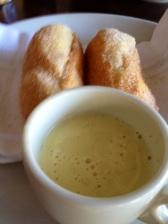 Brioche beignets with creme anglais