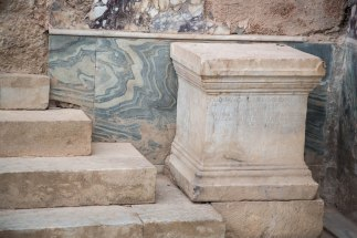 Marble panel and steps in a Terrace House