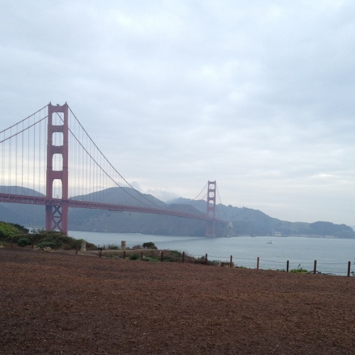 View of the Golden Gate Bridge from near the Main Post
