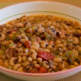 Serving of New Year's Day black-eyed peas