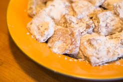 Lokum (Turkish delight) cut into squares and dusted with confectioners' sugar