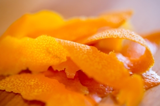 Strips of orange zest for the syrup