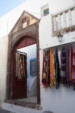 A little shop specializing in colorful women's scarves