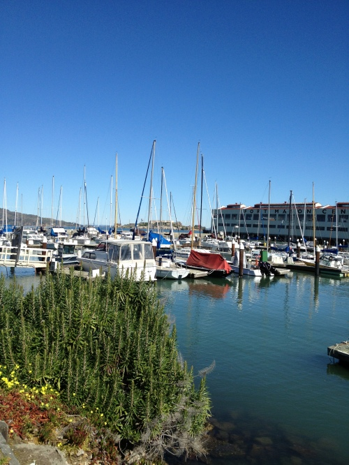 View of Fort Mason and Greens Restaurant from across the marina