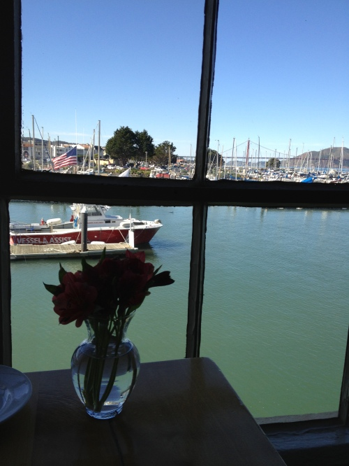 View from Greens Restaurant of the marina and the Golden Gate Bridge in the distance