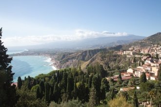 Panorama of Taormina, the Sicilian Coast, and Mt Etna