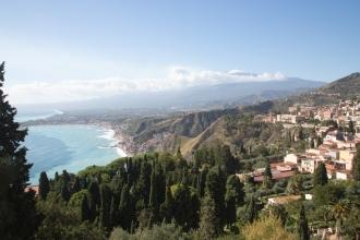 Panorama of Taormina, the Sicilian Coast, and Mt Etna