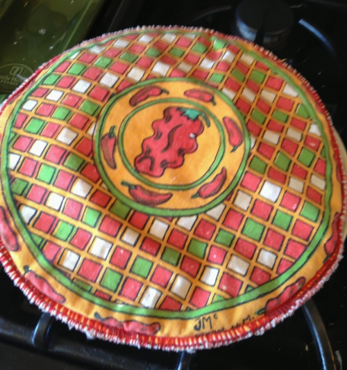 Insulated cloth tortilla warmer - slip warm tortillas into a slot on the side as you make them