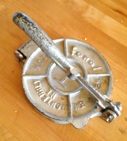 Cast metal tortilla press made in Mexico