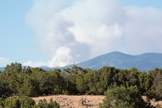Forest fire in the Pecos Wilderness. View from our back yard.