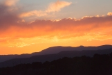 Sunset over the Jemez Mountains. View from the arroyo