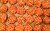 Meatballs ready to brown