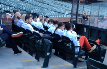 Chef honorees gathering before heading to the dugout