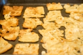 Crisped ice water crackers after 15 minutes of baking