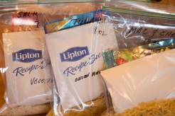 All of the dry ingredients for three main dishes put in individual bags