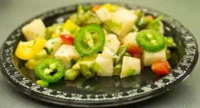 Jicama and nopalito salad with added jalapeños