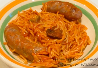 Andouille sausage with tomato sauce