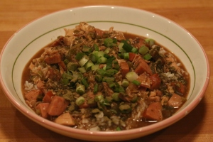 A bowl of chicken and andouille gumbo