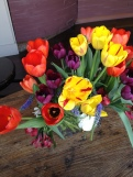 Fresh spring tulips on the table