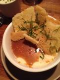 Panna cotta with burned butter sauce and orange shortbread crisp