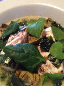 Swordfish, artichoke-seaweed barigoule, fava greens