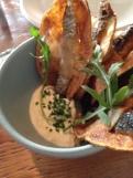 Sardine chips, horseradish creme fraiche