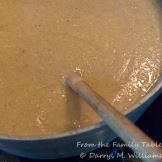 Sausage and cornmeal mixture cooking
