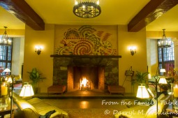 The lobby fireplace in the Ahwahnee Hotel