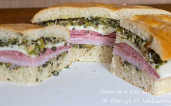 A muffuletta sandwich ready to eat
