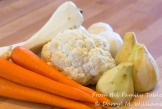 Peeled root vegetables and cauliflower ready for brining