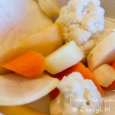 Brined root vegetables and cauliflower