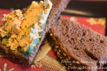 Liptauer cheese spread on pumpernickel