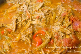 Ropa vieja simmering on the stove