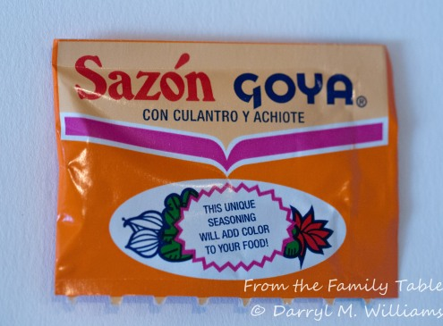 Goya brand Sazón seasoning, a substitute for annatto oil and your own seasoning
