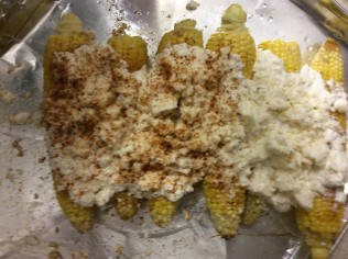 Pan-roasted corn with yogurt, queso fresco and Old Bay seasoning ready for the oven