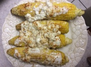 Mexican-style corn ready to be served