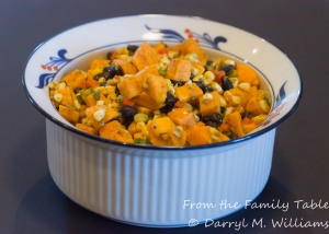 Sweet potato, grilled corn and black bean salad