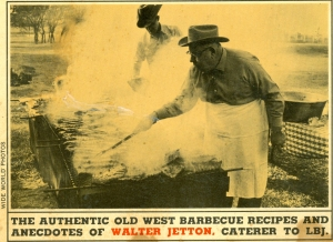 Walter Jetton at the barbecue - from the cover of his 1965 cook book