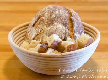 Artisanal bread cut into 1 inch cubes