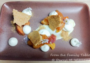 The deconstructed version of peach icebox pie served at Rich Table, San Francisco