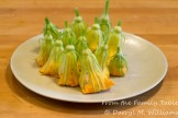 Squash blossoms stuffed and ready for batter and frying