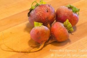 Bunch of golden beets from the farmers market