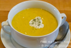Roasted golden beet soup with sour cream and dill