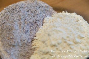 Blue cornmeal - white flour
