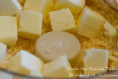 Chilled butter cubes and processed cheese mixture
