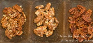 From left, salted butter-roasted pecans, Karen's orange pecans, Jean's Texas barbeque pecans