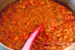 Chili with beans and tomatoes added